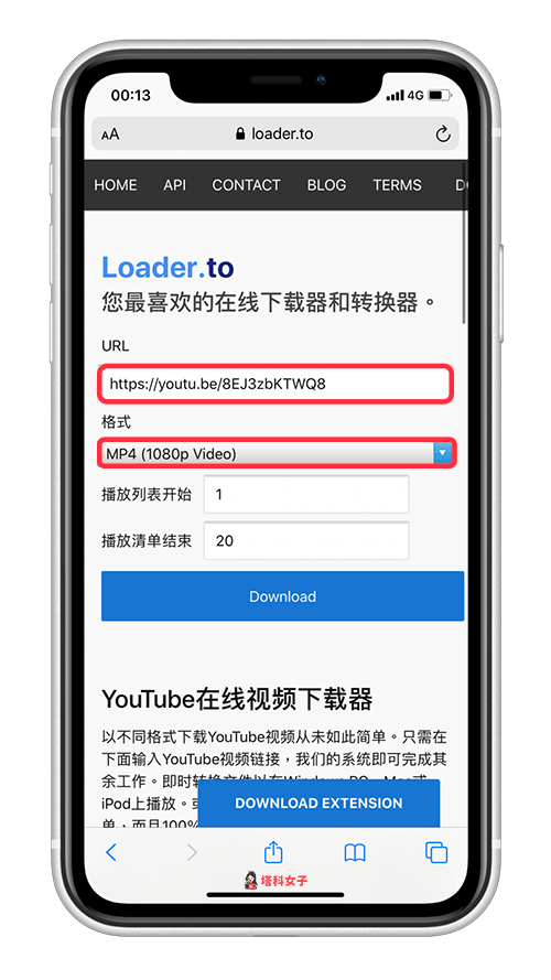 YouTube 影片分享到 IG 贴文或限动|开启 Loader.to 网站